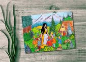 Snow White, kolorierte Märchen Illustration für Kinder, Handzeichnung, Sofort Download, 42×30.6cm druckbar, Kinderzimmer, Geschenk, Dekor