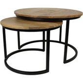 Hsm Collection Ronin Coffee Table 2 Pieces Ø60cmx45 cm iron / mango wood black / natural …