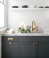Dark gray kitchen cabinets accented with aged brass knobs, vintage brass inset p…   – ROOMART.