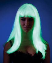 Light up the night with more than your glowing personality with our adult Glow in the Dark Straight Wig. It will bring out your inner glam girl with a