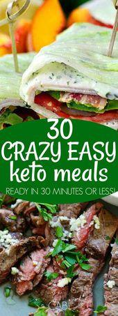 30 Keto-Abendessen, die Sie in 30 Minuten oder weniger zubereiten können # keto #ketogen # lowcarb # chas …