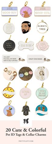 20 Cute & Colorful Pet ID Tags & Dog Collar Charms