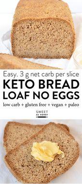 Keto Pain Sans Oeufs, Low Carb avec de la farine de noix de coco, farine d'amande, cosse de psyllium …