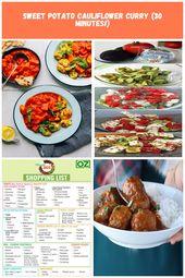 Dos platos de cena con curry de coliflor y batata para una preparación rápida a base de plantas …   – cheap-diet-plan