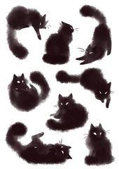 Haufen Kätzchen ♥ Ich werde wahrscheinlich ein Set Aufkleber mit diesen (• v – Art
