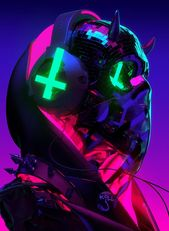 Photo of Cyberpunk-Antichrist, Cyberpunk-Schädel, Satan-Teufel Cyberp…