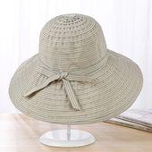 Women Summer Foldable Breathable Stripe Wide Brim Floppy Bucket Hat Casual Anti-UV Visor Beach Hat – Products