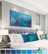 Blue gray and teal wall art – canvas abstract, Long horizontal wall decor above bed art, over couch, or dining living room pictures