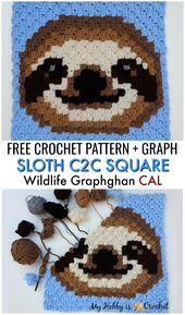Free Crochet Pattern: Sloth C2C Square – Wildlife Graphghan CAL, Block 18