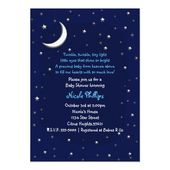 Baby Showers Twinkle Blue Moon & Stars Celestial Baby Shower Invitation