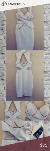 Pia Michi This is a gorgeous evening or cocktail dress.  Ivory white with gold t…