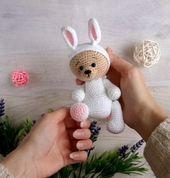 Crochet pattern bear, Amigurumi pattern bear, Easy crochet pattern bear, Amigurumi toy pattern, Stuffed bear in bunny suit crochet pattern