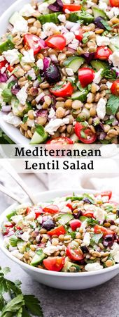This Mediterranean Lentil Salad is a hearty salad that's perfect for lunch, a si… – Deliciousness