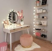 Schminktisch; Bilden; Haus Dekoration; Kleiner Raum; Spiegel; Hocker, Schlafzimmer; Cloa …   – miror