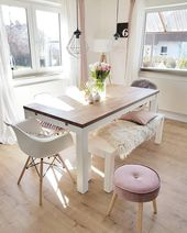 Dining room furnished in Scandinavian style.