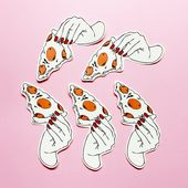 Pizza party Hand stickers , grunge , fashion , pink , sticker , pizza lover , pa…