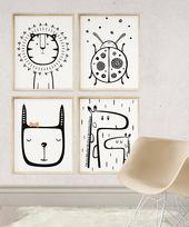 Giraffe Wandkunst, Kinderzimmer-Animal-Print, 16 x 20 Kunstdruck, Giraffe Unisex Baby-Geschenk, Kinderzimmer Wand Kunst bedruckbar, schwarz und weiß Kinderzimmer Dekor