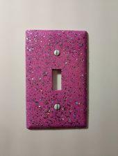 Pink & Purple with Silver Holographic Glitter / Bling Light Switch Plates, Outlet Covers, Rockers / Kawaii Unicorn Décor /Girly Nursery Room
