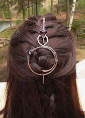 Kupfer Schal Pin Schal Wire Wraps Broschen Wein lila Haar Folie Barettes keltisches Metall Jewlery Pins große Clips für Frauen Geschenk für Sie