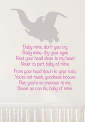 Baby Shower Songs Disney Dumbo Wall Decal Lullaby Decal  Baby by TannersCreekDesigns