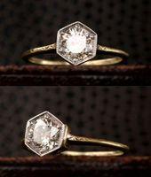 Hexagonal Art Deco engagement ring from the 1920s with diamonds of 0.7 …   – Schmuck Ideen