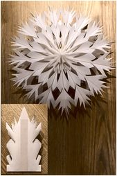DIY Paper snow flake #weihnachtenbastelnmitkindern Made from 16 paperbags in siz…