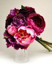 Pfingstrose & Hortensie Bouquet – Brautstrauß, Dark Pink, Fuchsia, Pink, Lila, Pfingstrose Bouquet, Rüschen, Shabby Chic, Vintage Bouquet   – wedding