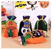 Drawstring Sack Halloween Theme Gifts Bag Holder 3D Witch Pumpkin and Cat Treate…