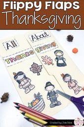 Thanksgiving-Aktivitäten Interaktives Notizbuch-Notizbuch – ***Pre School- Kindergarten
