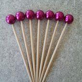 40 Fuchsia, Pink, 8mm Perlen Cocktail Party Picks, Dessert Bar, Cupcake, Hochzeiten, Brautdusche, Bling Stick, Zahnstocher – Deshawn