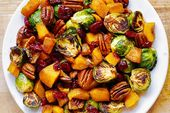 Roasted Brussels Sprouts and Cinnamon Butternut Squash with Pecans and Cranberri…   – Meals