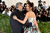 Met Gala 2018 afterparty: Amal Clooney changes into red mosaic gown