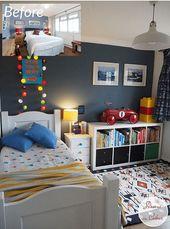 Verwandeln Sie ein Kinderzimmer mit Schlüsselstücken von IKEA, The Rug Store und Zubehör in blauen und roten Farben. Makeover, Styling-Herausforderung