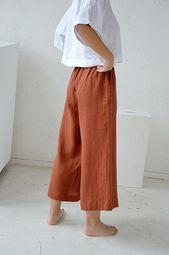 Linen pants / Culottes linen pants / Terracotta linen culottes pants / Unfastened pants / Midi flared linen pants / Comfortable linen trousers