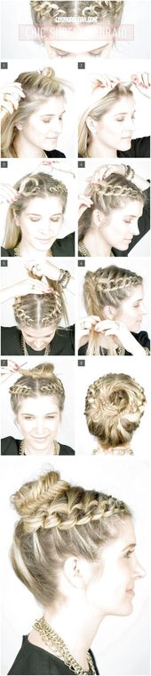 Fantastic Photos How To Create A Shoelace Braid Updo. The girls would love this!…