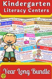 Kindergarten Monthly Literacy Centers Year Long Bundle – Reading