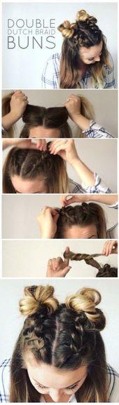 Double Dutch Braid Buns Half-up Hairstyle – Cassie Scroggins