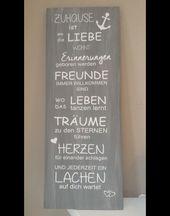 """Schild """"zu Hause"""" aus Holz Maße: ca. 80 cm x 30 cm dungelgrau Das Holz wurde mi"""
