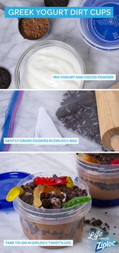 A healthier way to do dirt cups! Just swap out chocolate pudding for Greek yogur…