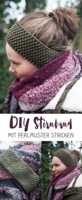 DIY Stirnband mit Perlmuster stricken – kleine DIY Geschenkidee
