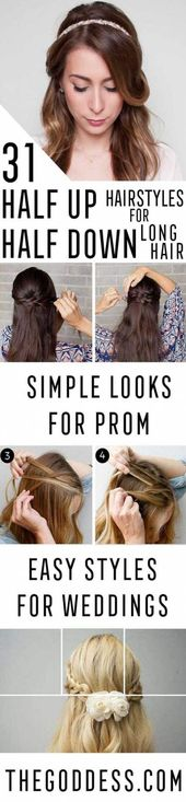 Hairstyles half up half down straight simple 59 Ideas for 2019