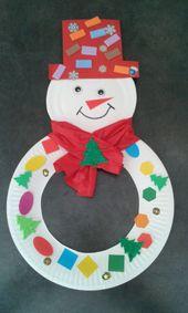Snowman with a cardboard plate! – #cardboard #plate #snowman