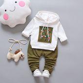 Ensemble de vêtements à capuchon pour bébés garçons pour décontracté 2018 nouveau printemps automne vêtements pour enfants costume 1 2 3 4 ans   – Kabeier