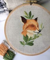 Hand Made Fox Embroidery Hoop Art,Hand Made, Wall decor, Animal, art, Picture, Home Interior, Inspiration, Creat