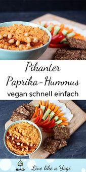 Pikanter Hummus mit Paprika  – vegane Snacks