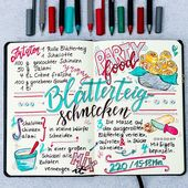 Handlettering / recipe art: puff pastry snails …