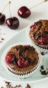 Juicy chocolate cherry muffins