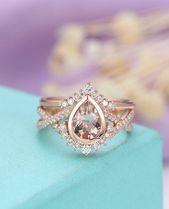 Morganite engagement ring Rose gold engagement ring Vintage Art deco Antique Dia…   – Ringe Ideen