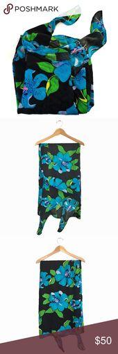 Vintage Waltah Clarke's Hibiscus Sarong Wrap Skirt Wear this beautiful semi-sh…