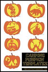 7 Spooky Camping Themen Kürbis schnitzen Vorlagen [Free PDF Printables]! – Family Camping